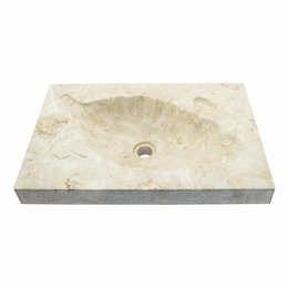 Cream Marble Washbasin Leaf 60x40x12cm
