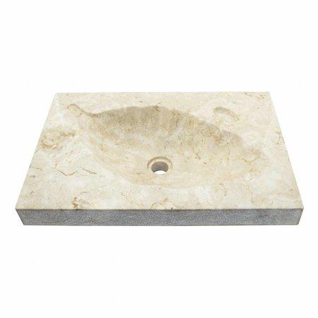Creme Marmor Waschbecken Leaf 60x40x12cm
