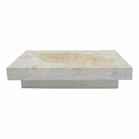 Cream Marble Washbasin Leaf 60x40x12cm