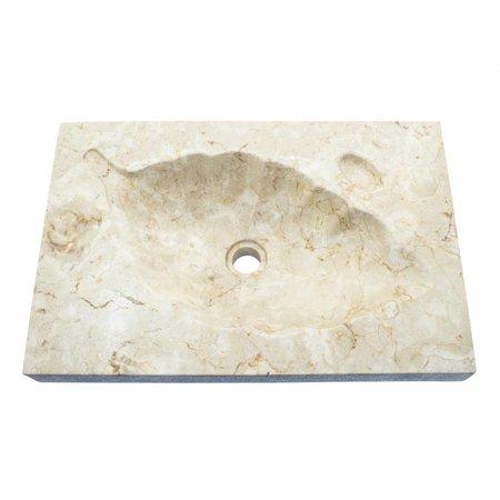 Indomarmer Cream Marble Washbasin Leaf 60x40x12cm
