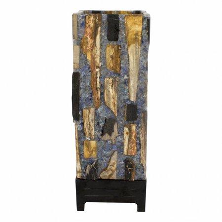 Square Lampe aus Versteinertes Holz