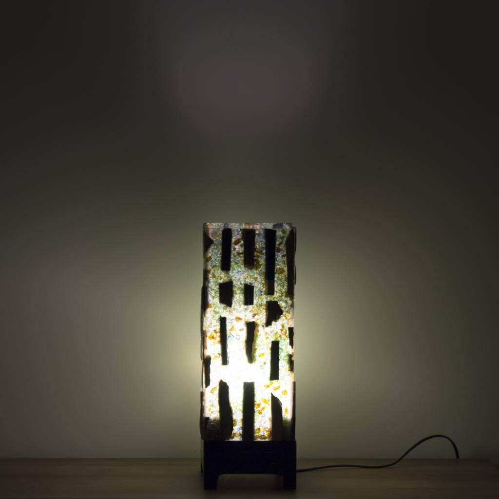 Indomarmer Square Lampe aus Versteinertes Holz