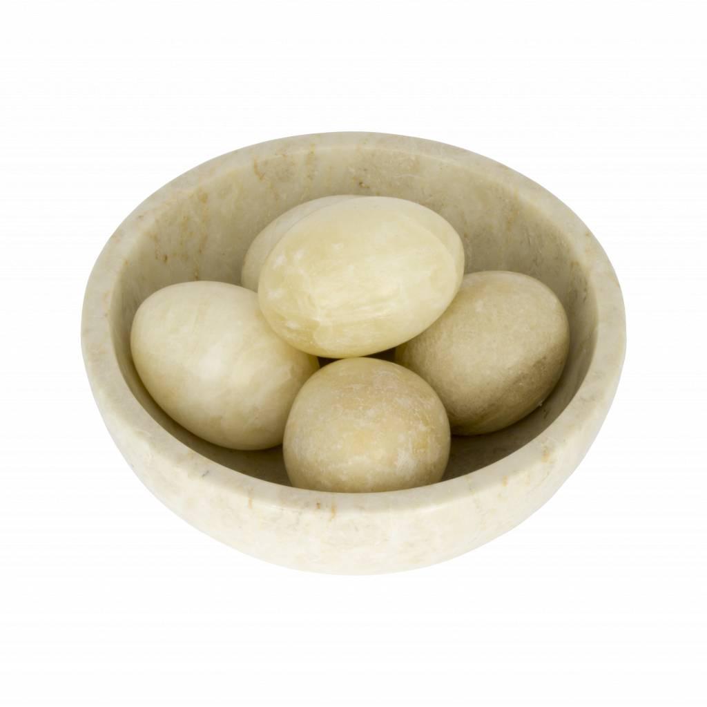 Indomarmer Schale mit Eier Marmor