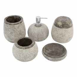 5-Piece Gray Marble Bath Set Arya