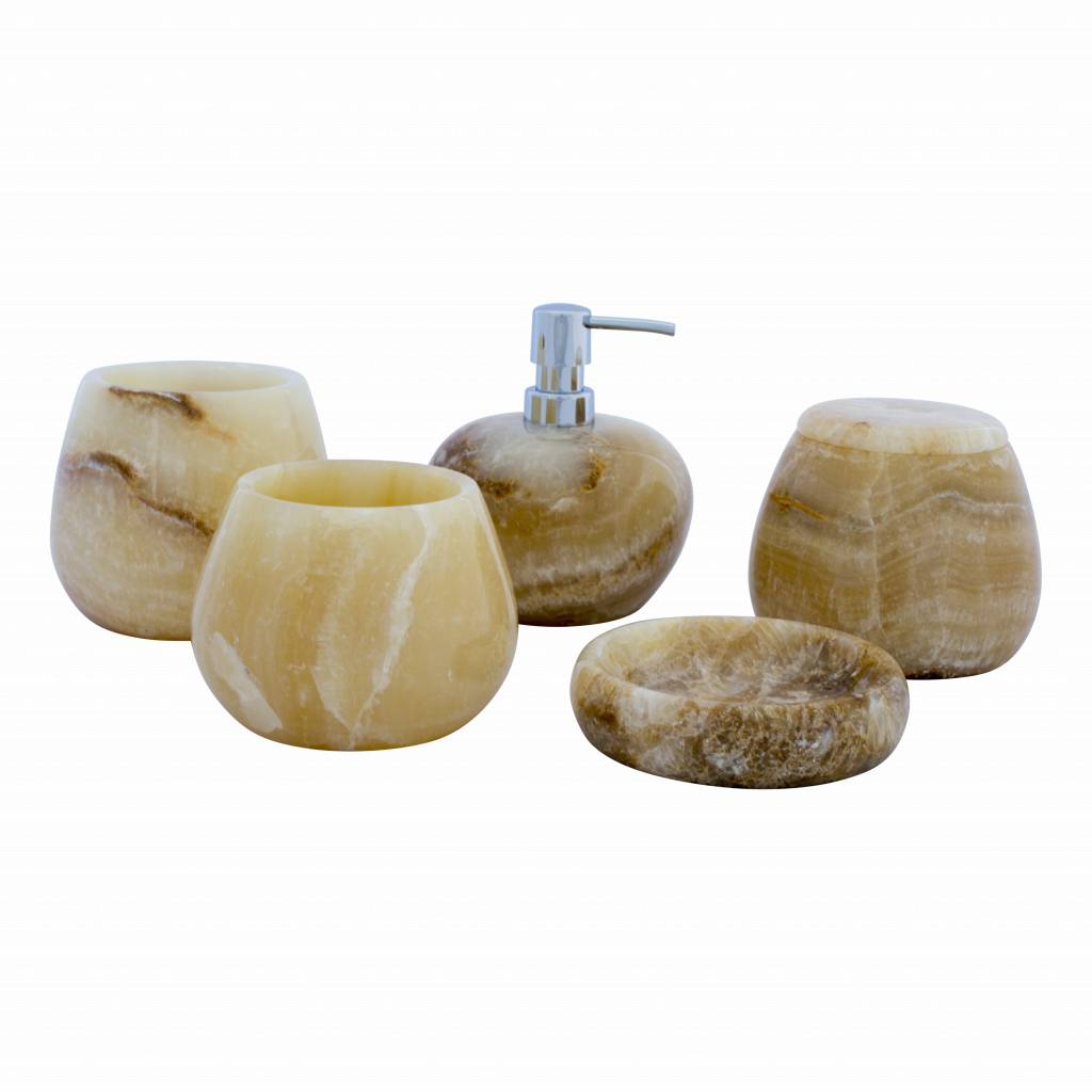Indomarmer 5-Piece Onyx bath set Senja