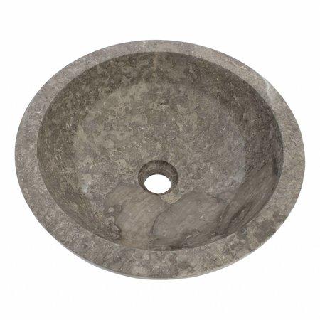Indomarmer Waskom Mangkok Grijs Marmer Ø 40 x H 15 cm
