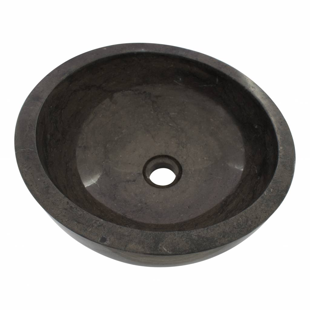 Indomarmer Schwarzer Marmor Waschbecken Miring Ø 40 x H 19 cm