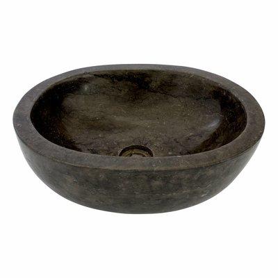 Schwarzer Marmor Waschbecken Oval 43 x 35 x 15 cm