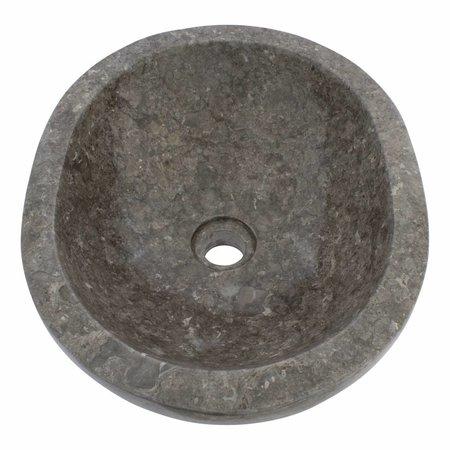 Indomarmer Waskom Oval Grijs Marmer 43 x 35 x 15 cm