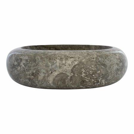 Indomarmer Waskom Donut Oval Grijs Marmer 45 x 35 x 12 cm