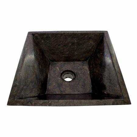 Indomarmer Waskom Kotak Piramide Zwart Marmer 40 x 40 x 15 cm
