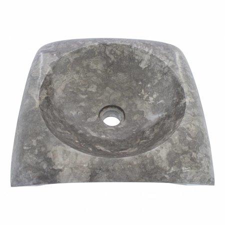 Indomarmer Waskom Rectangle Cantik Grijs Marmer 40 x 40 x 12 cm