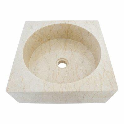 Indomarmer Creme Marmor Waschbecken Kotak Drum 40 x 40 x 15 cm