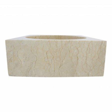 Cream Marble Wash bowl Kotak Drum 40 x 40 x 15 cm