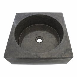 Indomarmer Black Marble Wash bowl Kotak Drum 40 x 40 x 15 cm