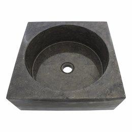 Indomarmer Schwarz Marmor Waschbecken Kotak Drum 40 x 40 x 15 cm