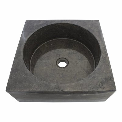 Indomarmer Black Marble Wash bowl Kotak Drum 40 x 40 x 15 cm