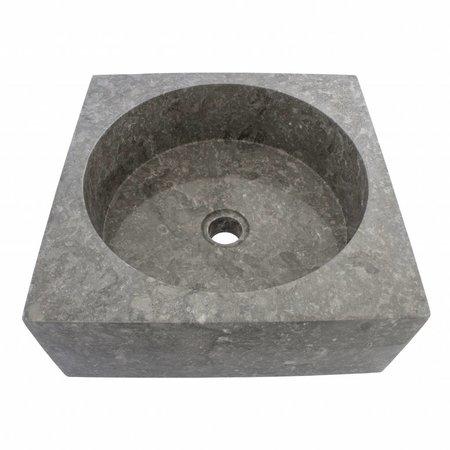 Indomarmer Grauem Marmor Waschbecken Kotak Drum 40 x 40 x 15 cm
