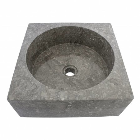 Indomarmer Gray Marble Wash bowl Kotak Drum 40 x 40 x 15 cm