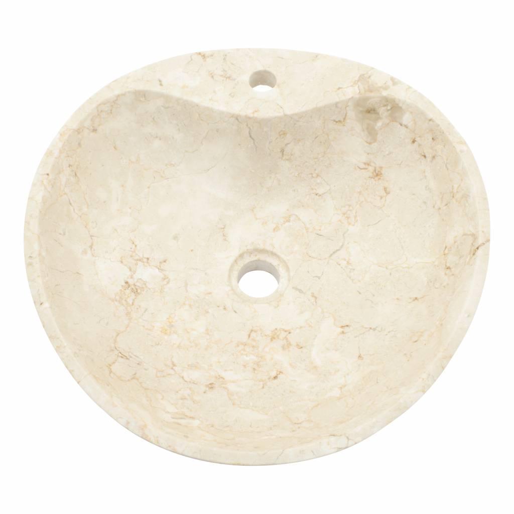Indomarmer Schelpen Wasbak Crème Marmer Ø 45 x H 12 cm