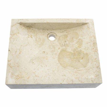 Creme Marmor Waschbecken Rechteckig 50x40x12cm