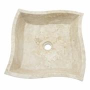 Indomarmer Square Trap Wasbak Crème Marmer 45x45x12cm