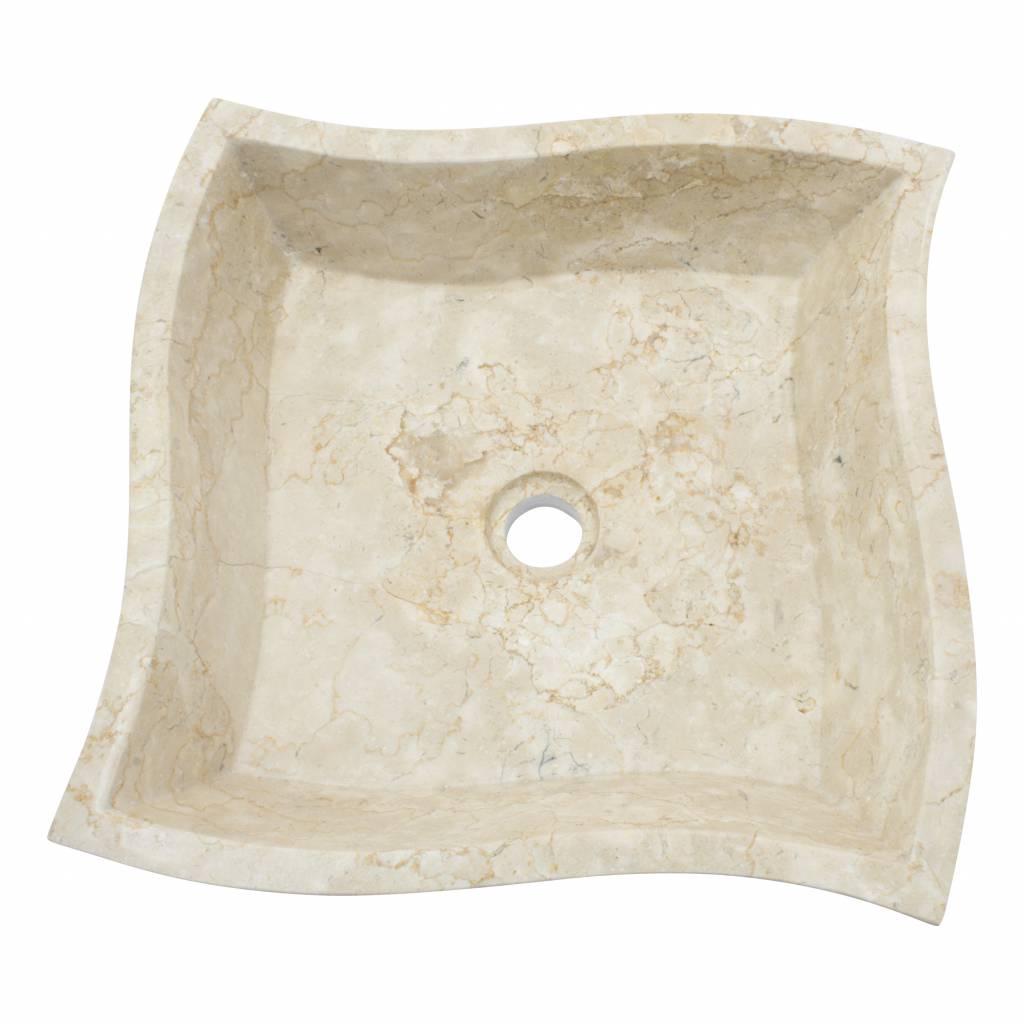 Indomarmer Cream Marble Washbasin Square Trap 45x45x12cm