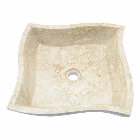 Cream Marble Washbasin Square Trap 45x45x12cm