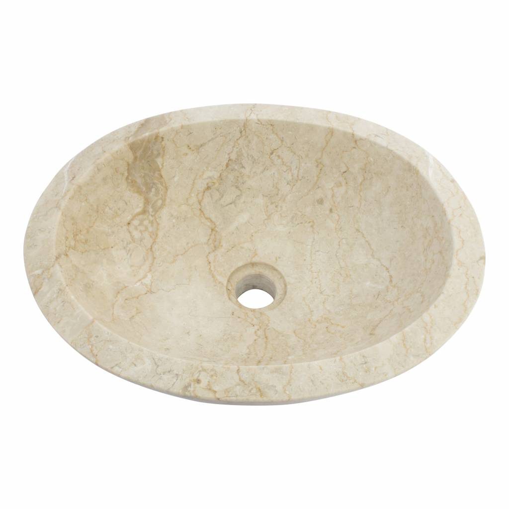 Indomarmer Creme Marmor Waschbecken Oval 43 x 35 x 15 cm