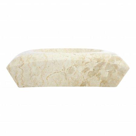 Cream Marble Wash bowl Rectangle Cantik 40 x 40 x 12 cm