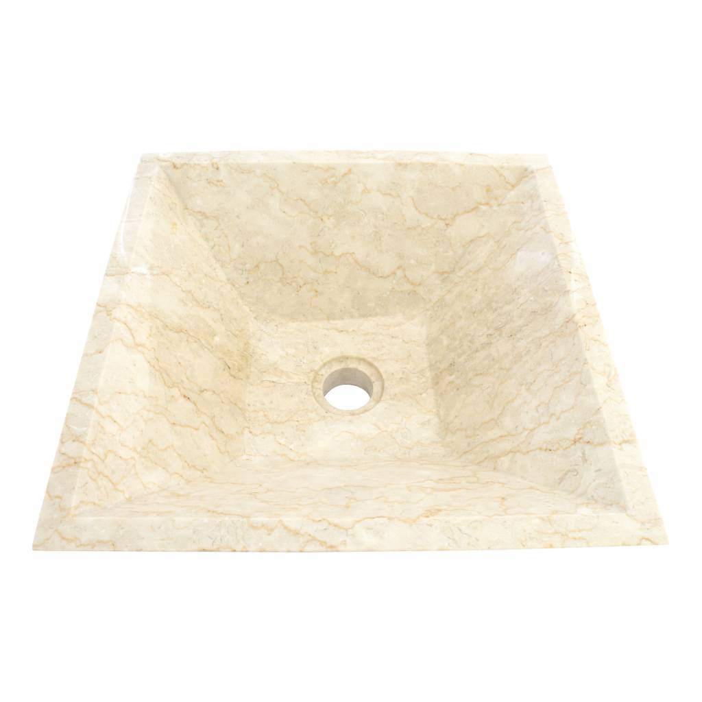 Indomarmer Creme Marmor Waschbecken Kotak Piramide 40 x 40 x 15 cm