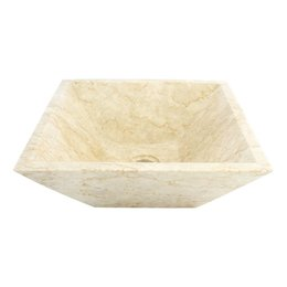Cream Marble Wash bowl Kotak Piramide 40 x 40 x 15 cm