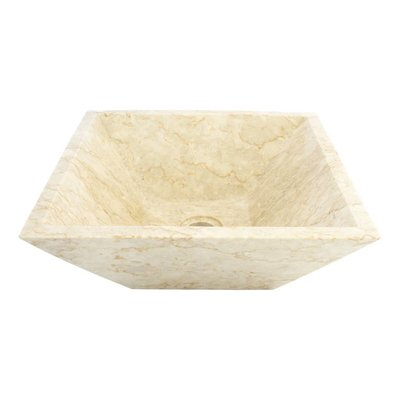 Indomarmer Waskom Kotak Piramide Crème Marmer 40 x 40 x 15 cm