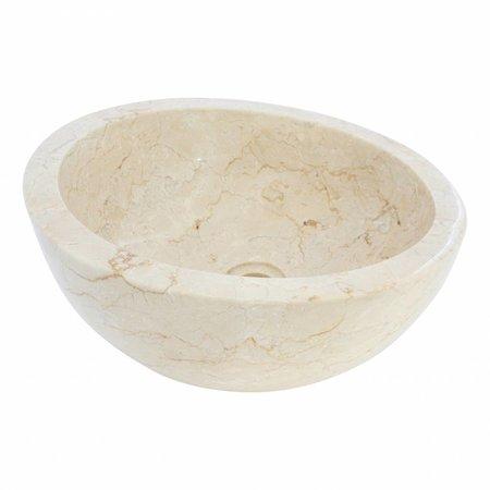 Indomarmer Waskom Miring Crème Marmer Ø 40 x H 19 cm