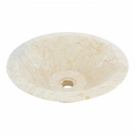 Indomarmer Waskom Membrane Crème Marmer Ø 40 x H 15 cm