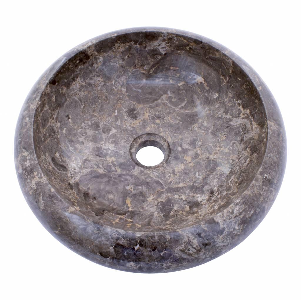 Indomarmer Waskom Donut Grijs Marmer Ø 40 x H 12 cm
