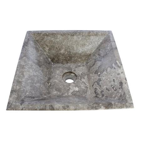 Indomarmer Gray Marble Wash bowl Kotak Piramide 40 x 40 x 15 cm
