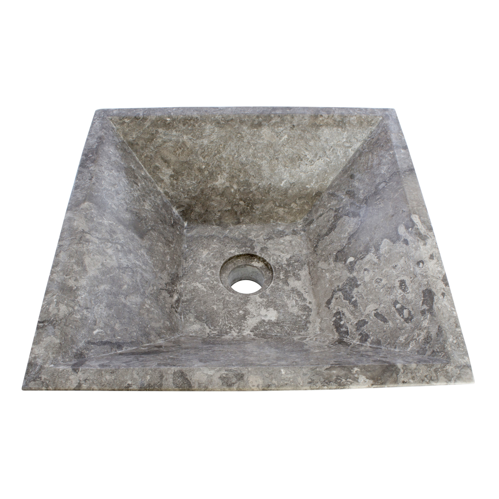Indomarmer Grauem Marmor Waschbecken Kotak Piramide 40 x 40 x 15 cm