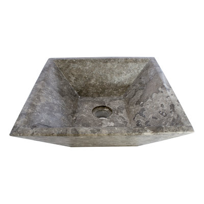Gray Marble Wash bowl Kotak Piramide 40 x 40 x 15 cm