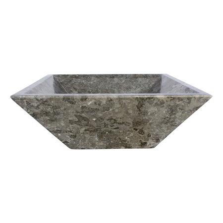 Indomarmer Waskom Kotak Piramide Grijs Marmer 40 x 40 x 15 cm