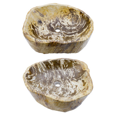Indomarmer Polished Petrified Wood Washbasin Set