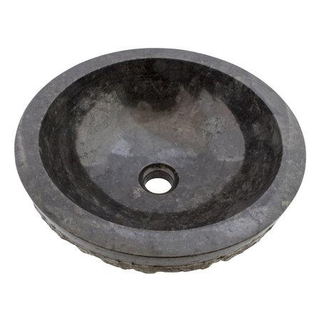 Indomarmer Schwarz Marmor Waschbecken Marmo-Polish  Ø 40 x H 15 cm