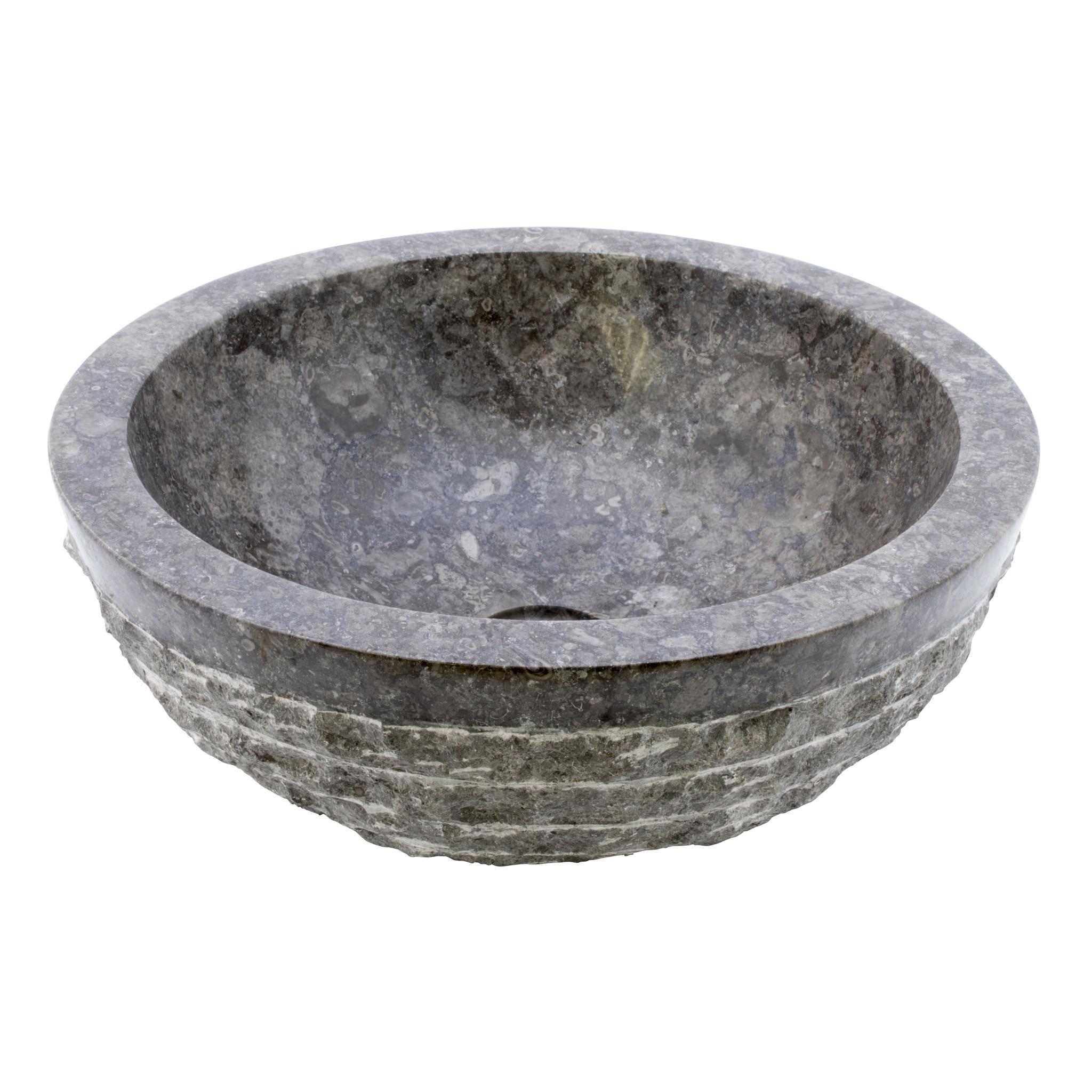 Indomarmer Grauem Marmor Waschbecken Marmo-Polish  Ø 40 x H 15 cm