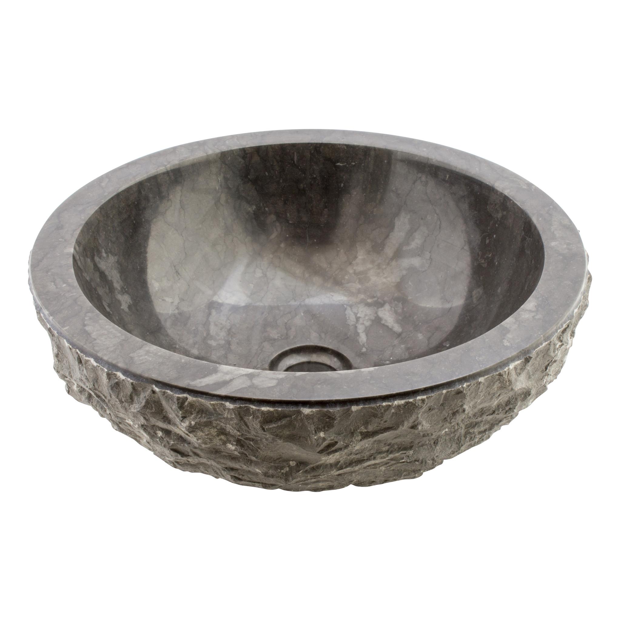 Indomarmer Waskom Full-Marmo Zwart Marmer Ø 40 x H 15 cm