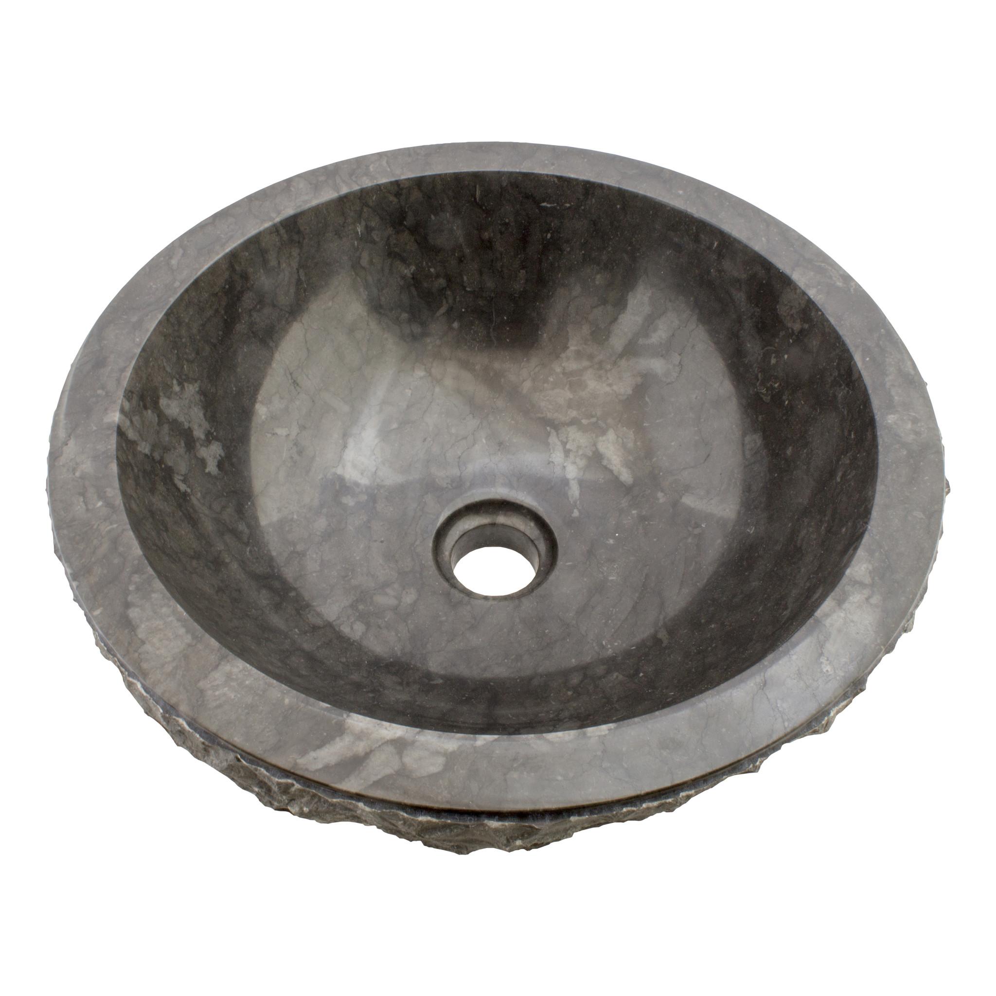 Indomarmer Schwarz Marmor Waschbecken Full-Marmo  Ø 40 x H 15 cm