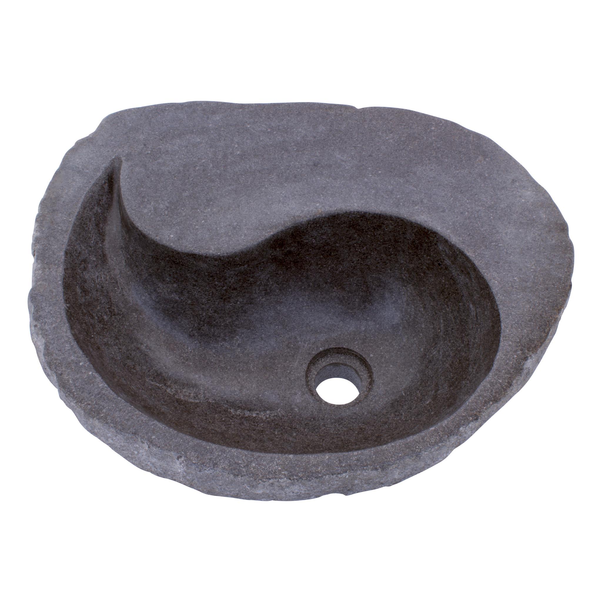 Indomarmer Waschbecken aus Flussstein Yin Yang 51x42x15cm