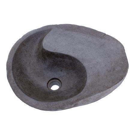 Indomarmer Rivierstenen Wasbak Yin Yang 43x44x15cm