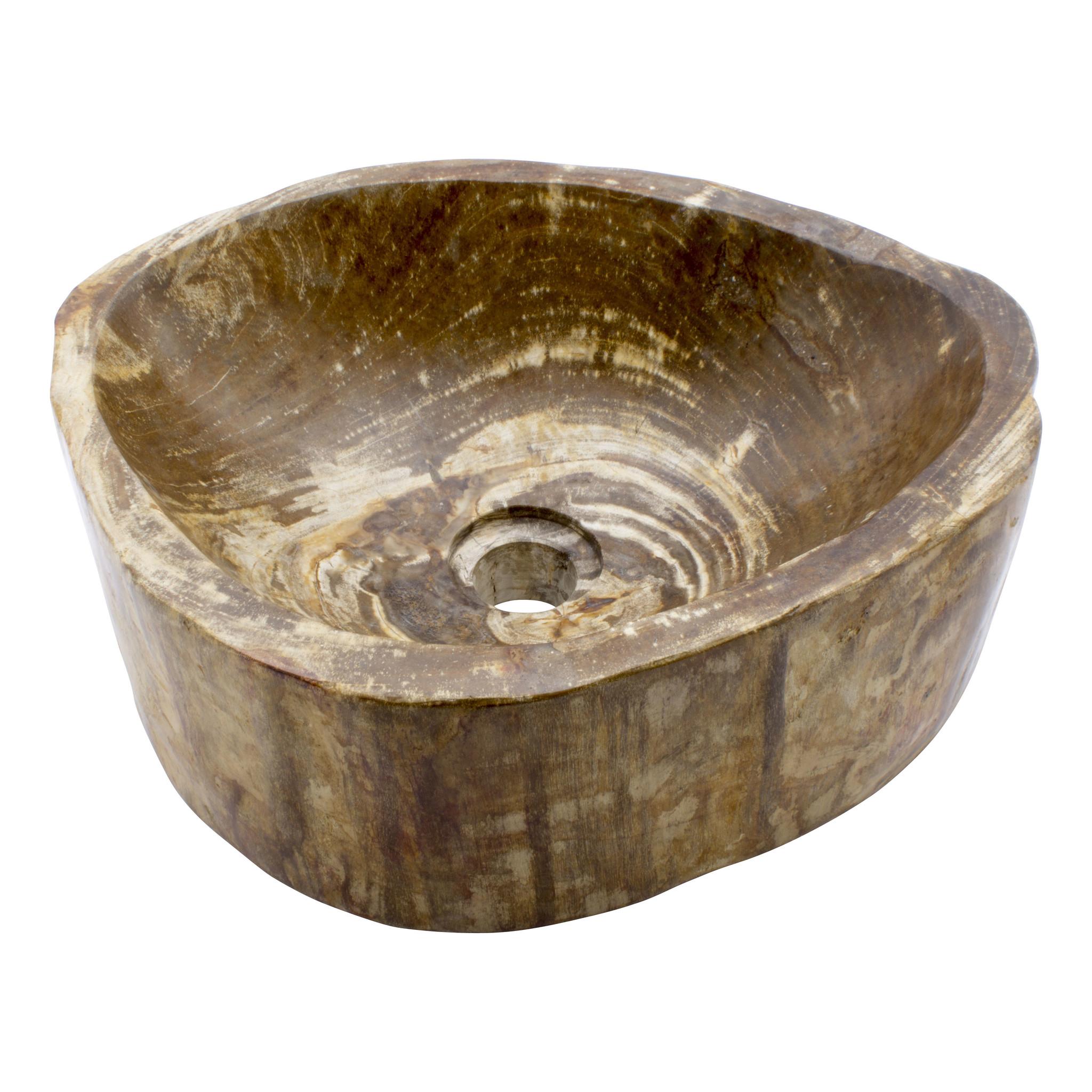 Indomarmer Polierte Waschbecken aus Versteinertes Holz 40x33x15cm