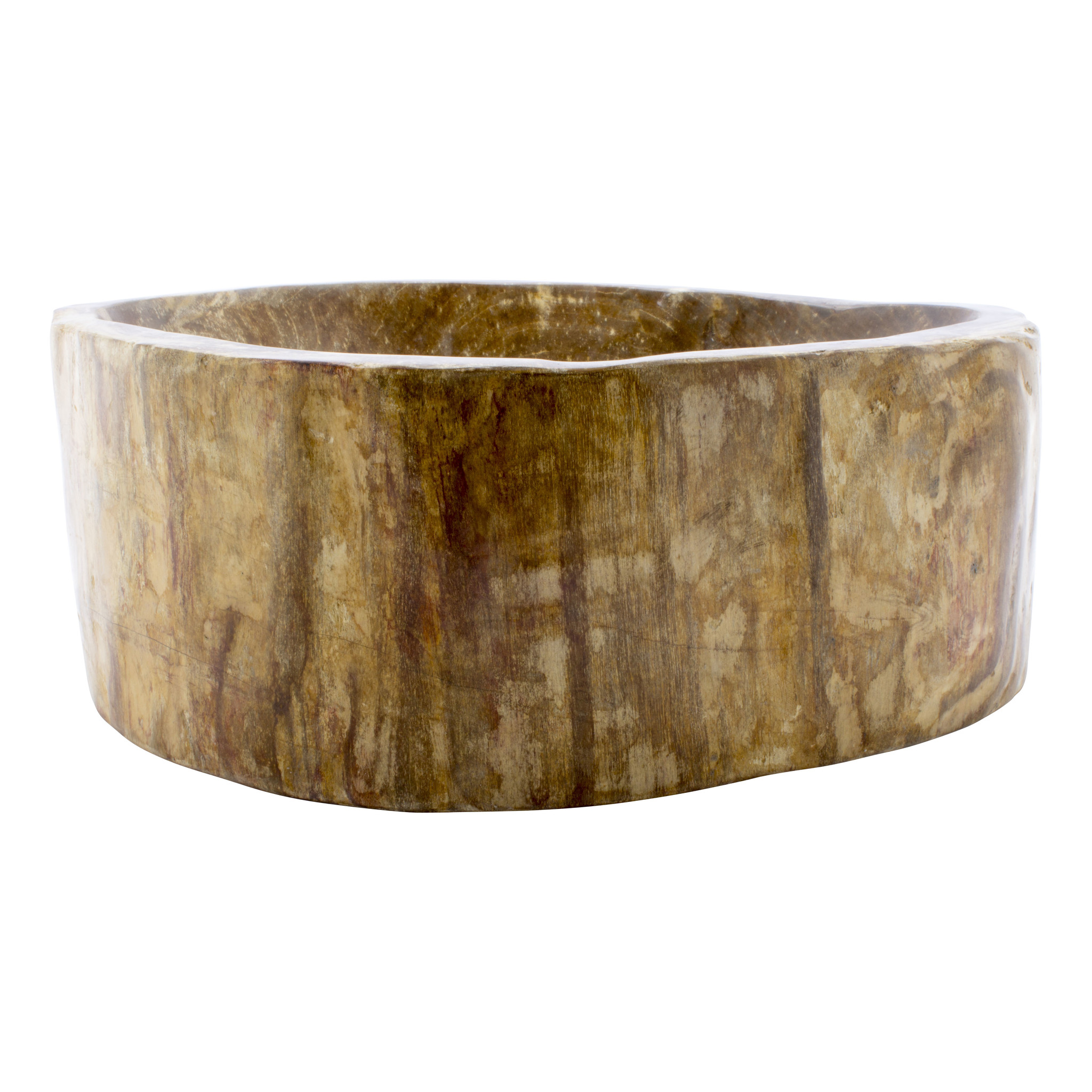 Indomarmer Polished Wash Bowl of Petrified Wood 40x33x15cm