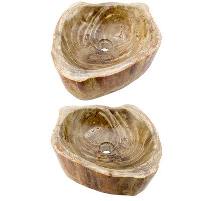 Indomarmer Polished Petrified Wood Washbasin Set